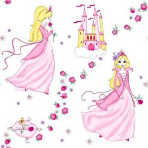 kinderzimmer gardine schlaufenschal prinzessin motiv in wei rosa f r m dchen ebay. Black Bedroom Furniture Sets. Home Design Ideas