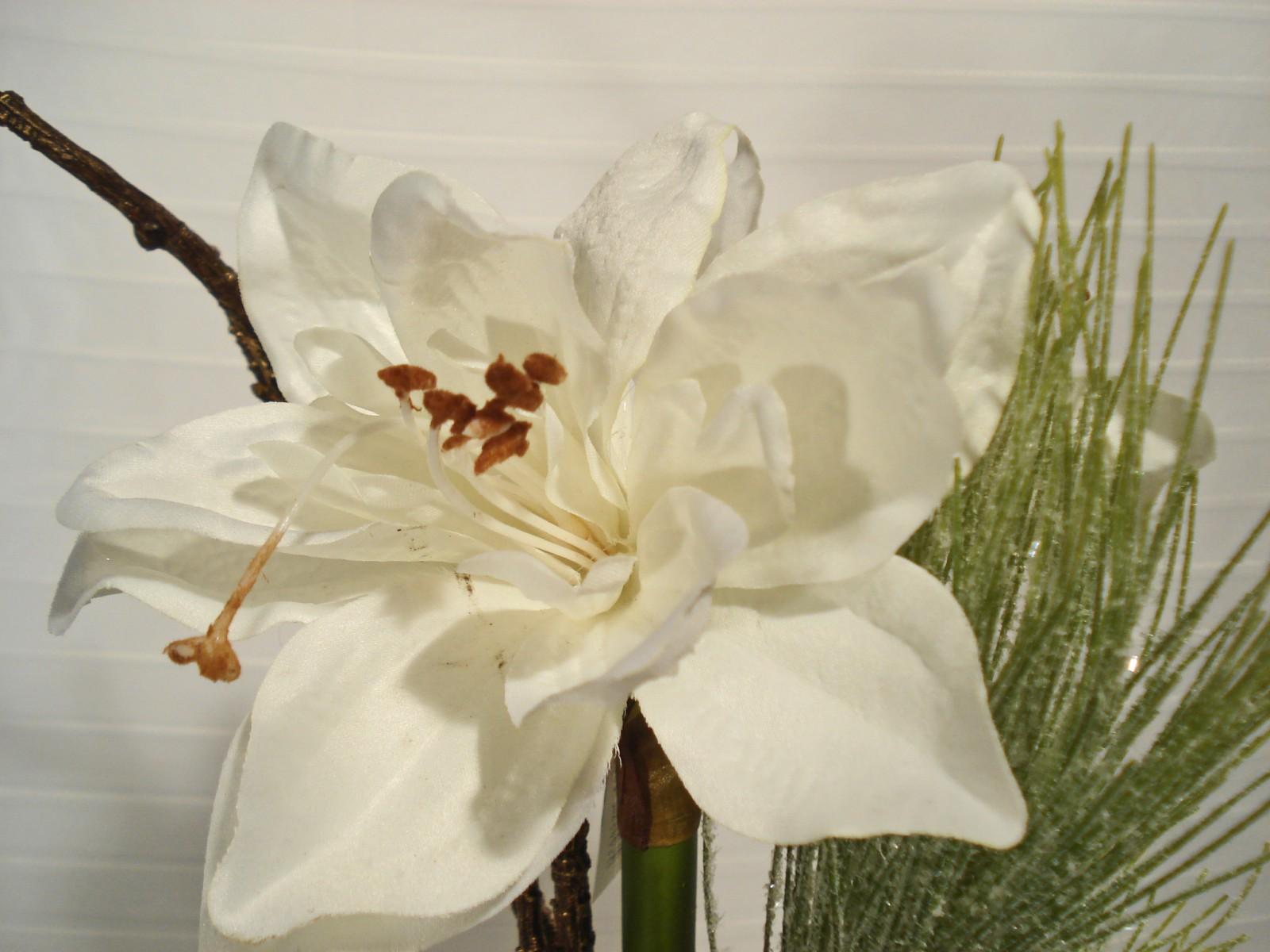 sch ne k nstliche amaryllis im glas 63 cm wei. Black Bedroom Furniture Sets. Home Design Ideas