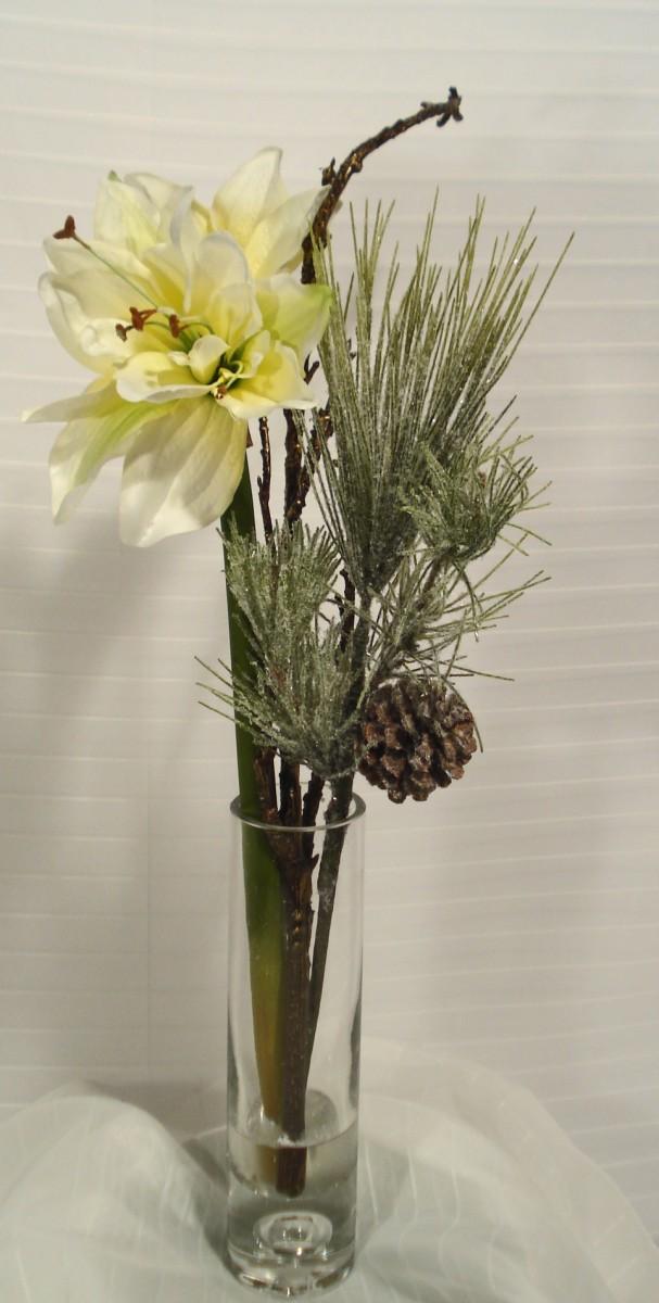 sch ne k nstliche amaryllis im glas 63 cm weissgr n kaufen. Black Bedroom Furniture Sets. Home Design Ideas
