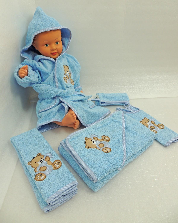 Baby Frottee Set Bär Handtuch Kapuzenhandtuch Bademantel 5-tlg. 100% Baumwolle