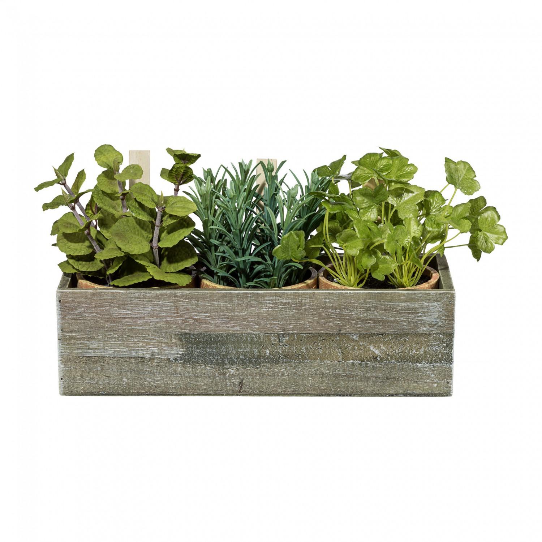 3 Kräutertöpfe Kunstpflanzen im Holzkasten 29x11x8 cm