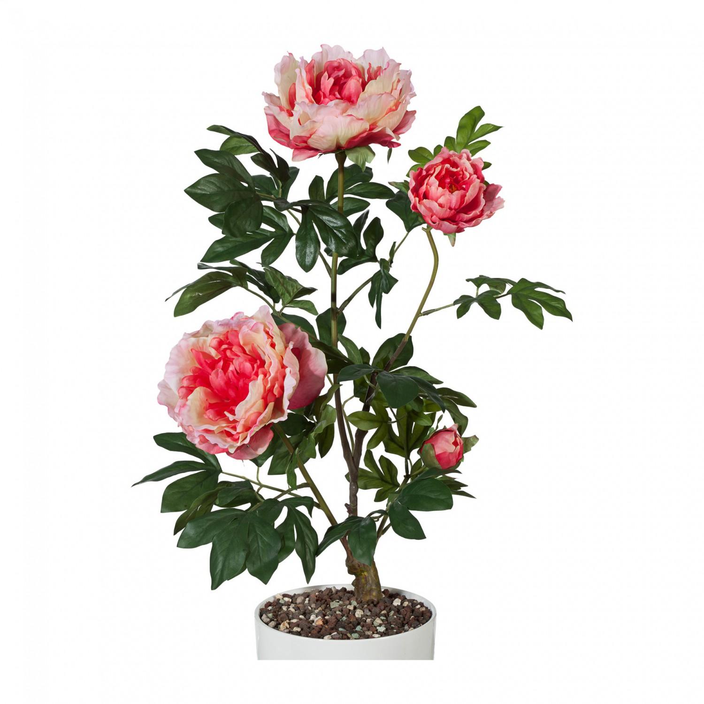 Pfingstrose mit 3 Blüten Kunstpflanze 70 cm in dunkelrosa