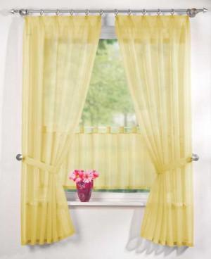 5tlg gardinen set uni transparent in gelb fertiggardine. Black Bedroom Furniture Sets. Home Design Ideas