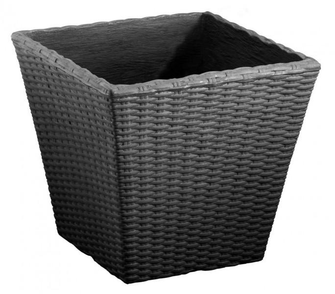 Flechttopf quadratisch aus Kunststoff in anthrazit