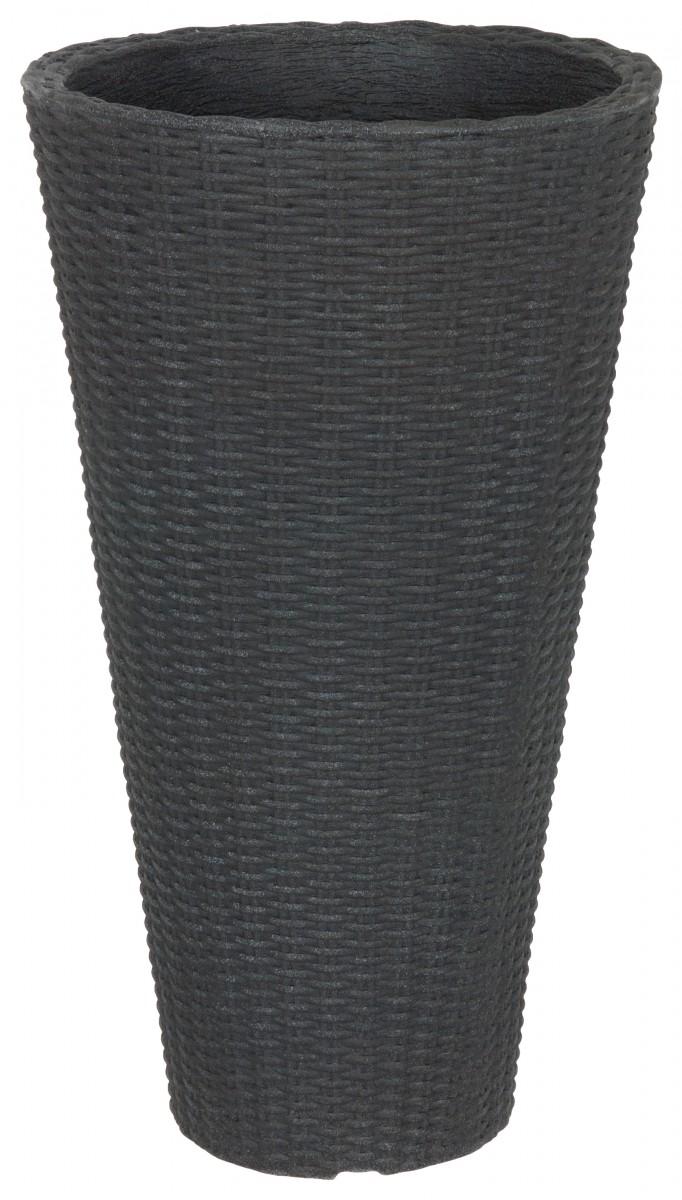 Flechttopf in runder Vasenform aus Kunststoff in anthrazit