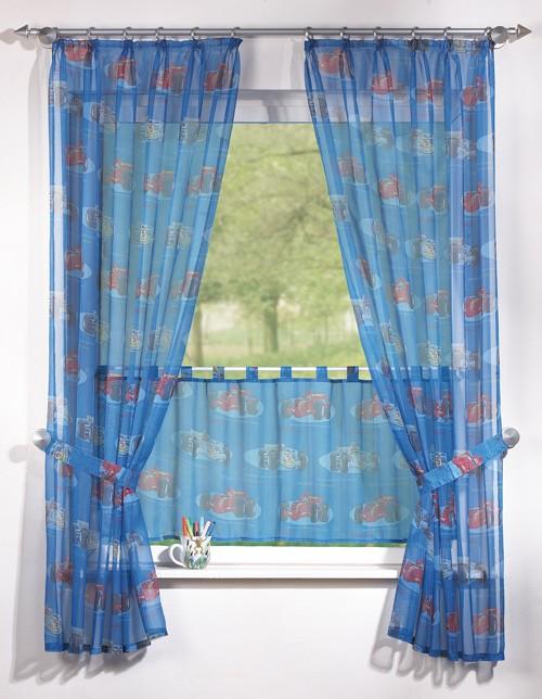 kinderzimmer gardine set mit rennauto car motiv in blau. Black Bedroom Furniture Sets. Home Design Ideas