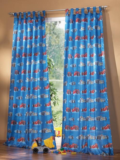 kinderzimmer gardine schlaufenschal set car motiv blau. Black Bedroom Furniture Sets. Home Design Ideas