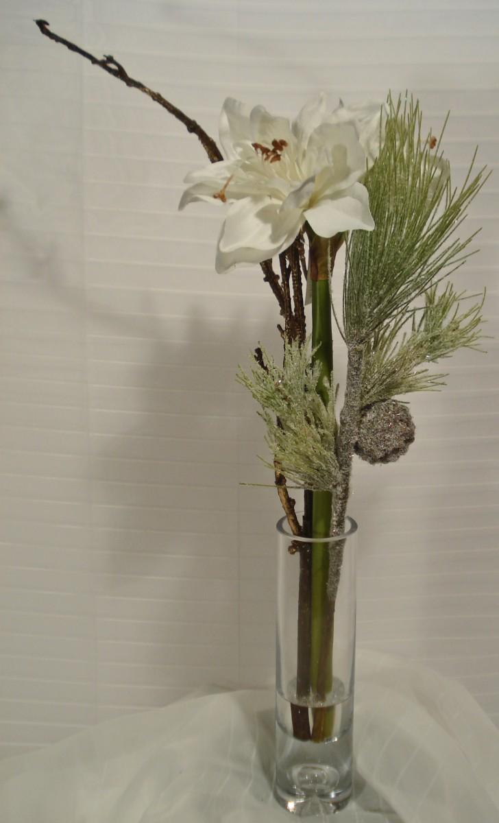 sch ne k nstliche amaryllis im glas 63 cm wei ebay. Black Bedroom Furniture Sets. Home Design Ideas