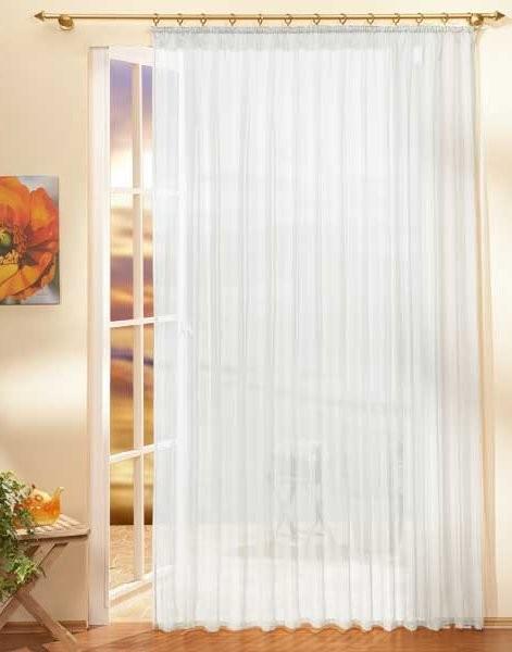 voile store fertiggardine uni gardine in weiss mit. Black Bedroom Furniture Sets. Home Design Ideas