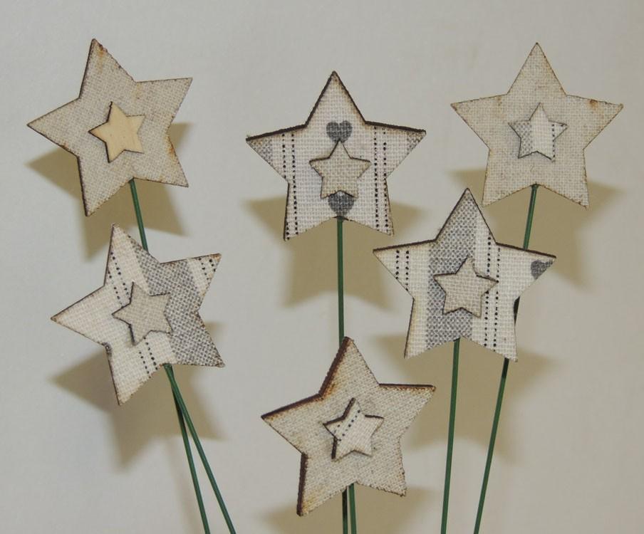 12er set weihnachtlicher dekostecker herz oder stern in for Dekostecker weihnachten