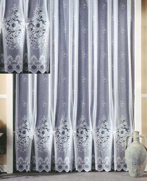 jacquard store gardine in wei mit blumen motiv mit. Black Bedroom Furniture Sets. Home Design Ideas
