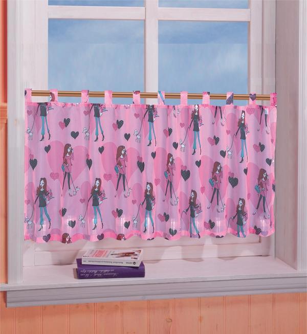 kinderzimmer scheibengardine panneaux herz girl motiv 50 x. Black Bedroom Furniture Sets. Home Design Ideas