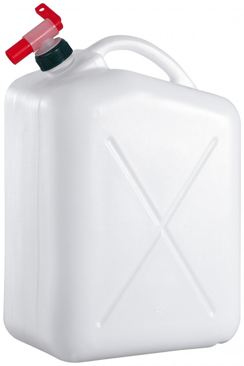 Wasserkanister aus Kunststoff mit Deckel oder Hahn weiß