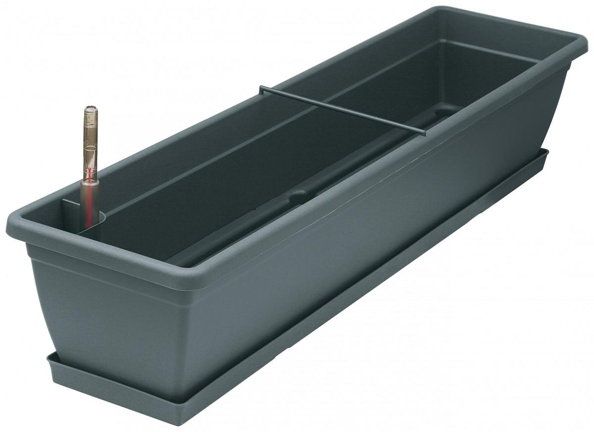 blumenkasten aqua toscana aus kunststoff incl wasserstandsanzeiger bew sserung und untersetzer. Black Bedroom Furniture Sets. Home Design Ideas